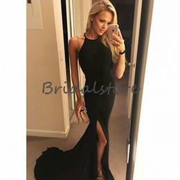 7d4ac0401ede5 8 Fotos Online Mädchen hohen schlitz kleider Kaufen-Simple Black High Slit  Prom Dresses Jewel Ausschnitt Mermaid