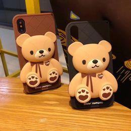 Iphone Brown Bear Australia - HOT 3D Cartoon Brown bear Cute Cartoon Soft Silicone Phone Case for iPhone 6 6s Plus 7 8 Plus X 5 covers shell