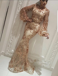 Long sLeeve Lace formaL dress online shopping - 2019 Arabic High Neck Lace Mermaid Evening Dresses Long Sleeves Ruched Formal Floor Length Prom Dresses Party Gowns BC2334