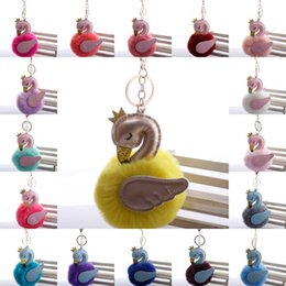 Cute keyChains for bags online shopping - Hot sale Style Cute Pompons Swan Keychains For Woman Car Bag KeyRing Fluffy Rabbit Fur Ball Flamingo Keyholder Trinkets Gift M203A