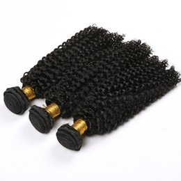 Curly Human Hair For Weaves UK - Top 10A Brazilian Kinky Curly Human Hair Weave Bundles 100% Remy Hair Wefts For Black Women No Shedding 8-28 Inches