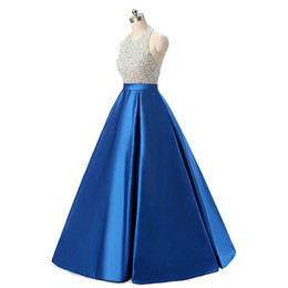 $enCountryForm.capitalKeyWord UK - New Simple Cheap Blue Sequins Long Prom Dresses With Bead Lace Up Plus Size Women Formal Evening Cocktail Celebrity Party Gowns QC1456