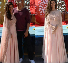 sheer chiffon capes NZ - Arabic Kaftan Applique Women Evening Dresses With Sheer Cape Beads Chiffon Formal Gowns Indian Long Prom Dress
