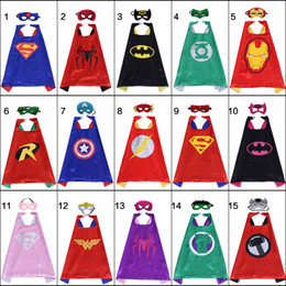Top halloween cosTumes for kids online shopping - 15 styles Superhero cape mask for kids double layer top quality superhero cartoon costumes party favors Halloween Christmas Birthday gifts