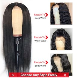 hair tied lady Australia - 13x4 Straight Human Hair Lace Wigs 150% Density DIY Lace Wigs for Black Women Customize Wig Brazilian Remy Hair