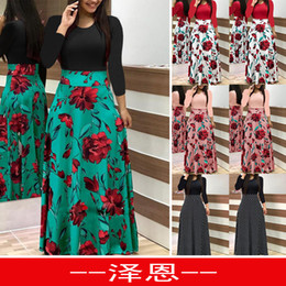 Stock Clothes Winter Australia - Wish Autumn And Winter New Pattern Goods In Stock Printing Round Neck Long Sleeve Even Clothes Longuette