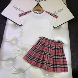 cheap girls summer clothes Canada - girl boutique clothe summer white dress plaid classical design little girl fashion kid set clothe 110-160 cm pink cheap american girl doll