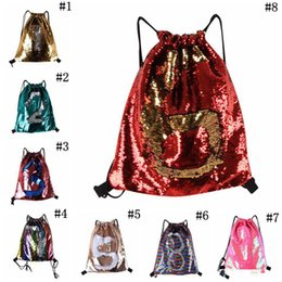 $enCountryForm.capitalKeyWord NZ - Mermaid Sequin Backpack Sequins Drawstring Bags Outdoor Sports Backpack Glitter Sports Shoulder Bags Travel Bag 8 Styles 50pcs