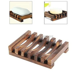dish stands 2019 - Soap Holder Dish Bathroom Shower Storage Support Plate Stand Wood Box Natural Soap Dishes S08 Drop ship cheap dish stand