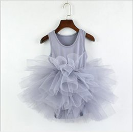 Wholesale one piece dance dresses resale online - 12 Colors Baby Girls Ruffle Romper Dress Kids Pleated Tutu ballet dance costumes one Piece Dresses Dancewear Chilren Jumpsuits Clothing