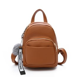 New mini backpack women PU leather College Small travel Shoulder bags for  women School Rucksack Girl Purse Fuzzy Ball 2019 a8fa7d0bb5ee2