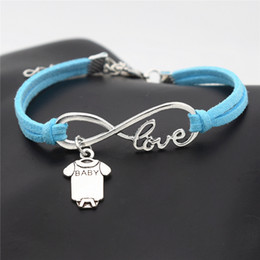 $enCountryForm.capitalKeyWord NZ - Wholesale Antique Silver Infinity Love Cute Baby Short Sleeve Clothes T-shirt Romper Bracelet & Bangles Fashion Blue Leather Braided Jewelry