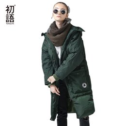 Parkas Green Australia - Toyouth Down Jacket Winter Long Hooded Down Parkas 80% White Duck Parka Female Thicken Warm Solid Green Outerwear Coat