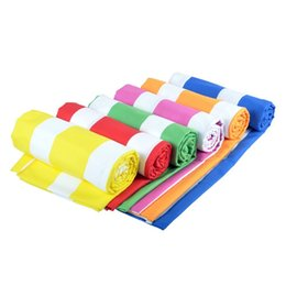 travel compressed beach towel UK - Strip printing double side Microfiber Towel 70X140cm for travelling Beach easy to carry qucik dry towel