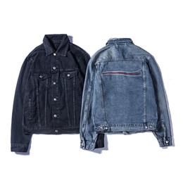 Venta al por mayor de Famosa para hombre del dril de algodón ocasional de la chaqueta mujeres de los hombres de alta calidad de abrigos para hombre azul de la manera Negro Chaqueta estilista Outwear el tamaño M-XXL