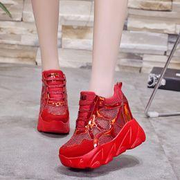 Platform Flats Women NZ - COOTELILI Brand Women Casual Shoes Heels Women Sneakers Flat Platform Wedge Height Increasing Shoes