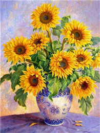 Paintings Vases Australia - DIY Acrylic Painting by Numbers Kit on Canvas for Adults Beginner Spring Sunflowers Blooming in White Vase on Table 16x20 Inch