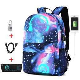 $enCountryForm.capitalKeyWord NZ - New Anti-thief Bag Luminous School Bags For Boys Girls Student School Backpack Mochila with USB Charging Port Lock Schoolbag