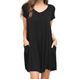 $enCountryForm.capitalKeyWord NZ - Women Summer Casual Solid Plain Simple Pocket T Shirt Loose Dress Floral Elegant A Line Azulina Different Color