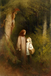 forest figures NZ - -.43-0074# Framed & Unframed Christ Jesus with young girl in forest Home Decor Handpainted &HD Print Oil Painting On Canvas Wall Art Canvas