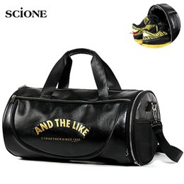 Leather Sport Bags Men Australia - PU Leather Gym Bag Big Sports Bags Handbags For Fitness Men Women Training Shoulder Shoes Travel Sac De Sport Camping XA554WA #29656