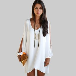 long batwing white dresses Canada - Pop 2019 Newest Amazing Maxi Women Clothing Spring Full Sleeve Brief Dress Sexy Hollow Out Batwing Sleeve Casual Beach Sundress