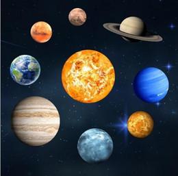 korean sun glasses 2019 - Sun Jupiter Saturn Neptune Uranus Earth Venus Mars Mercury Glowing Planets Wall Stickers Solar System Decals for kids Ro