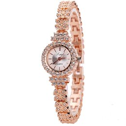 stylish ladies glasses Canada - Stylish Women's luxury bracelet watches Diamond case quartz watch Crystal Rhinestone wirstwatch ladies clock Montre Femme