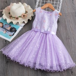 party clothes for little girls UK - Purple Little Girls Summer Dress Party Casual Wear Children Clothing Baby Girl Clothes Princess Dress Tutu Kids Dresses For Girl