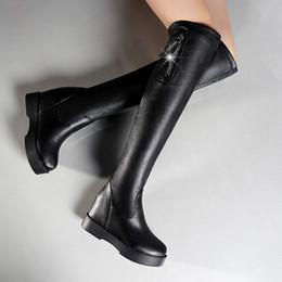 47b56242cf0 Patent Flat Over Knee Boots Australia - 2018 Black Knee High Boots Flat  Warm Ladies Shoes