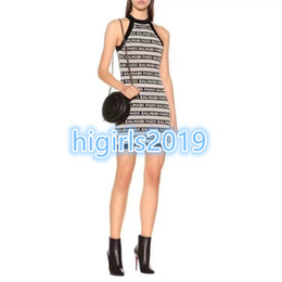 Grils Shirts Australia - High-end women grils sexy HALTER dress shirts CREW NECK STRETCH VISCOSE Knitted skirt slim bodycon Dresses Milan Runway dress with letter