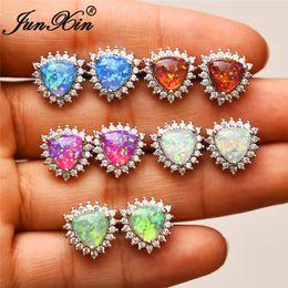 1795988cf JUNXIN Female Geometry Triangle Stud Earrings For Women 925 Silver Filled  Blue Purple Green White Fire Opal Studded Earrings CZ