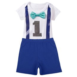 $enCountryForm.capitalKeyWord UK - Baby Boys Girls 1st Birthday Cake Smash Outfits Romper Shorts for One Year Clothes Photo Prop Romper Bodysuit + Pants