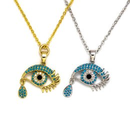 eyes bijoux Australia - Gold Silver Long Chain Lucky Evil Eye Necklace Femme Bijoux Fashion Crystal Pendant Necklace Jewelry Gifts For Women Girls