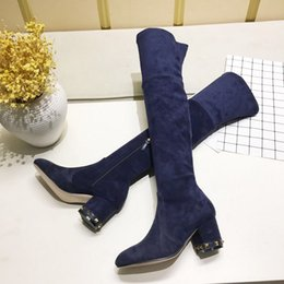 $enCountryForm.capitalKeyWord Australia - Hot Sale-designer fashion high silk suede suede over the knee boots black coffee champagne color blue blue Slim party with boots