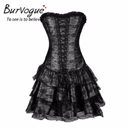 Wholesale red steampunk corsets for sale - Group buy Burvogue Sexy Steampunk Corsets and Bustiers Burlesque Gothic Lace Steampunk Corset Dress Plus Size Costume Floral Bustier Dress