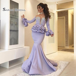 StyleS gownS online shopping - 2020 Plus Size Mermaid Crystal Prom Dress Formal Party Gown Sexy Wedding Reception Evening Wear Saudi Arabia Dubai Style Sheer Neck Ruffles