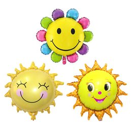 $enCountryForm.capitalKeyWord UK - Wholesale New Arrivals Cute Sun flower foil balloon smiley aluminum film balloon school kindergarten store birthday party layout decoration