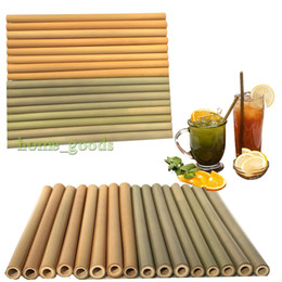 Wholesale 100 Natural yellow green bamboo straw cm inch reusable drinking straw Eco friendly beverages straws for party wedding bar tools