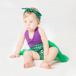 Wholesale purple body suit costume for sale – halloween Everweekend Toddler Girls Newborns Mermaid Sequins Tutu Romper Lace Straps Halter with Headband Baby Infant Costume Body Suit