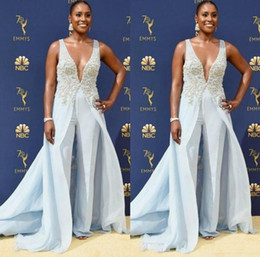 $enCountryForm.capitalKeyWord Australia - Jumpsuit Celebrity Evening Dresses Formal Sexy Deep V Neck Beaded Lace Appliques Overskirts Elegant Prom Gowns Emmy Awards 2019