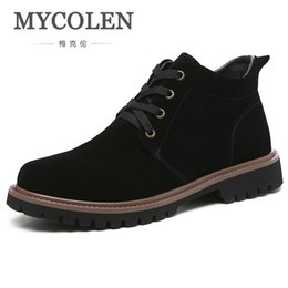 Product Brand Color Australia - MYCOLEN Brand 2018 Winter Luxury Product Men's Boots Shoes High Top Fashion Lace-Up Ankle Martin Boots Botines Hombre Cuero #354988