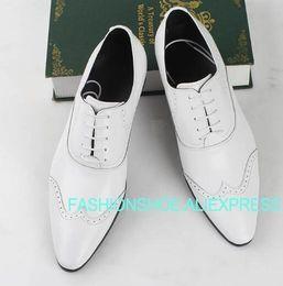 $enCountryForm.capitalKeyWord Australia - Brown Black White Formal Suit Shoes Genuine leather Fashion Hot Dress Wedding Party Shoes Male