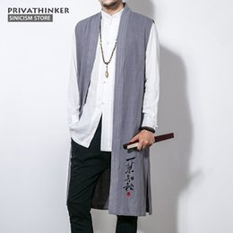 Wholesale chinese cotton embroidery for sale - Group buy Plus Cotton Linen Sleeveless Vest Men Embroidery Long Length Jackets Male Chinese Traditional Autumn Coat Men s Outerwear