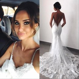 $enCountryForm.capitalKeyWord UK - Sexy New Backless Lace Wedding Dresses 2019 Spaghetti Straps Mermaid Layers Appliqued Boho Bridal Gowns BC0129