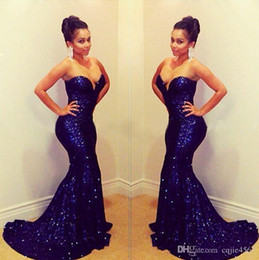 Royal couRt gowns online shopping - 2019 New Sequins Backless Blingbling Sexy Mermaid Prom Dresses Shining Sweetheart Court Train Formal Celebrity Evening Gowns Plus Size AW355