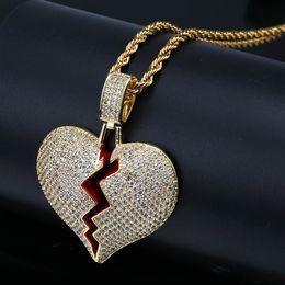 Necklaces Pendants Australia - Hip Hop Jewelry Designer Necklace Iced Out Pendant Cuban Link Chain Gold Diamond Break Heart Pendants Luxury Bling Charm Rapper Men Wedding