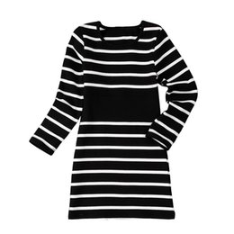 Red Dresses Black Tights Australia - knit striped 6-14 yrs big girls long sleeve dress 2019 spring winter tight princess children dresses black white frocks for