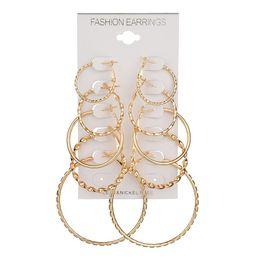 Vintage Copper Hoop Earrings Australia - Oversize Gold Color Big Circle Hoop Earrings Set for Women 5 Pair set Vintage Steampunk Ear Clip Wedding Party Jewelry