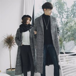 $enCountryForm.capitalKeyWord NZ - Autumn Winter Couple Houndstooth Long Slim Men Wool Trench Coat Windbreaker New Fashion Male Coat Long Design Trench